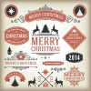 Vintage 2014 Christmas labels elements vector 02