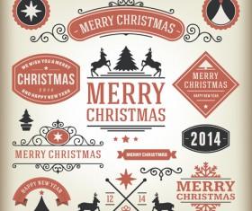 Vintage 2014 Christmas labels elements vector 02