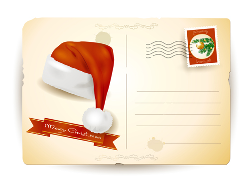 Vintage Christmas Postcard design vector - Vector Card, Vector ...