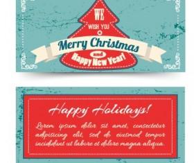 Vintage Christmas tree ribbon cards vector