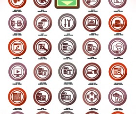 Vintage Computer system icons vector set