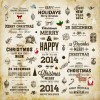 Vintage christmas and 2014 New Year with holiday elements vector