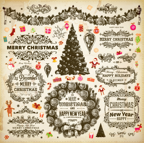 Vintage christmas frame and ornaments vector free download