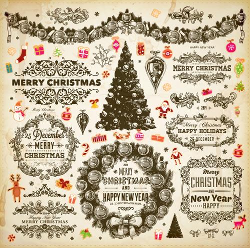 Vintage christmas frame and ornaments vector - Vector Christmas ...