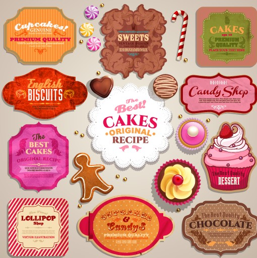 Vintage sweets and cake labels vector
