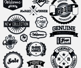 Black and white retro labels design vector 01