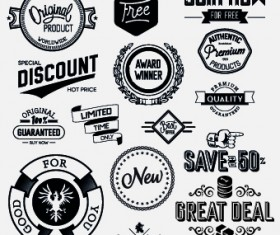 Black and white retro labels design vector 03