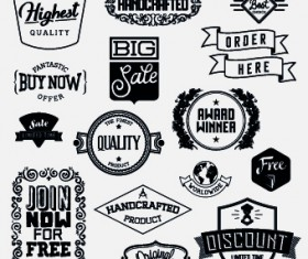 Black and white retro labels design vector 04