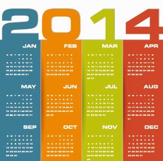 Delicate calendar 2014 year design vector 03