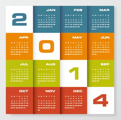 Delicate calendar 2014 year design vector 05