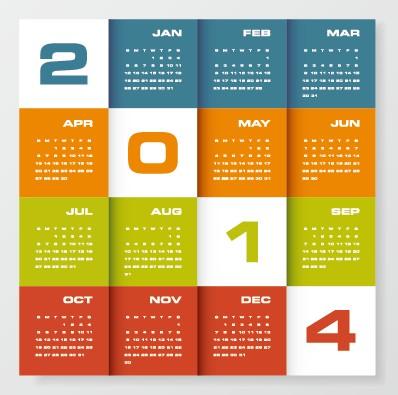 Delicate calendar 2014 year design vector 05