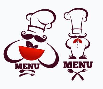 Creative chef menu logos vector set 03