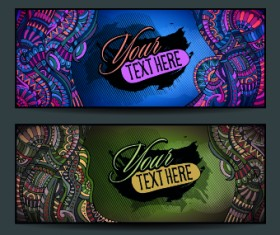 Ethnic decorative style cards vector graphics 01