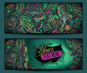Ethnic decorative style cards vector graphics 02