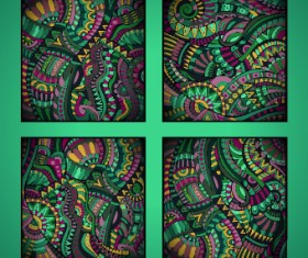 Ethnic decorative style cards vector graphics 04
