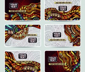 Ethnic decorative style cards vector graphics 05