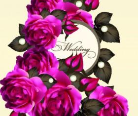 Vintage Purple Roses vector set 02