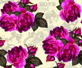 Vintage Purple Roses vector set 04