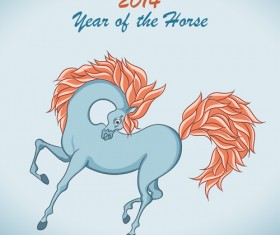 2014 Year of the horse cute design vector 01