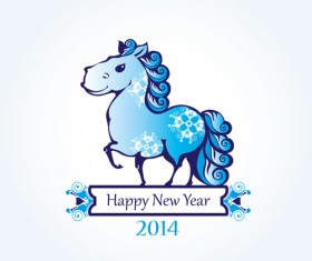 2014 Year of the horse cute design vector 02