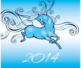 2014 Year of the horse cute design vector 03