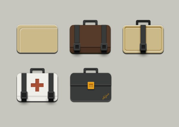 suitcase icons psd graphics