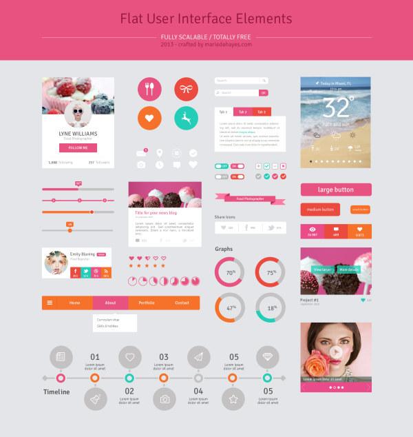 Pink style website UI kit