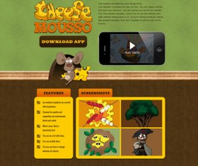 Vintage cartoon style website template psd material