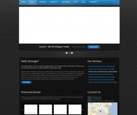 Exquisite dark style website psd template 01