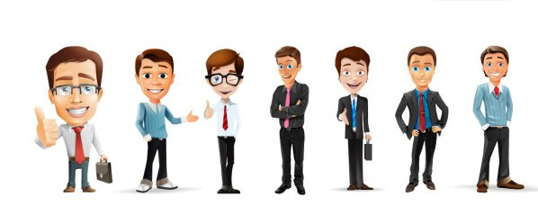 Cartoon business people psd graphic