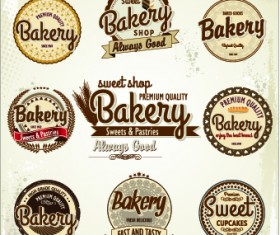 Vintage bakery labels creative vector set 01