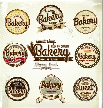 Vintage bakery labels creative vector set 01