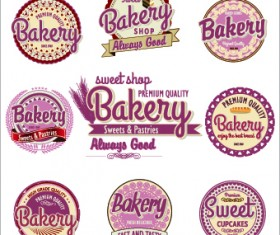 Vintage bakery labels creative vector set 02