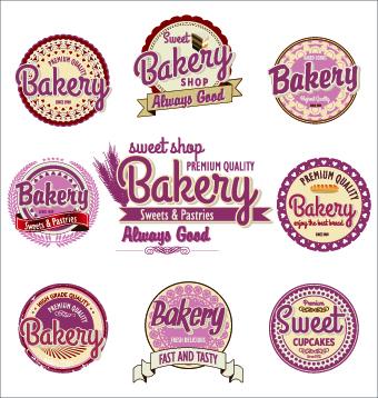 Vintage bakery labels creative vector set 02