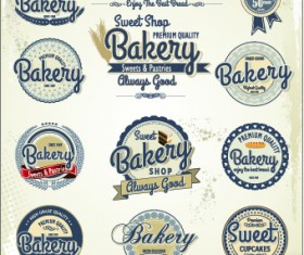 Vintage bakery labels creative vector set 03