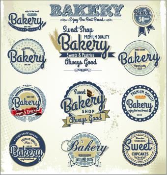 Vintage bakery labels creative vector set 03