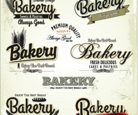 Vintage bakery labels creative vector set 04