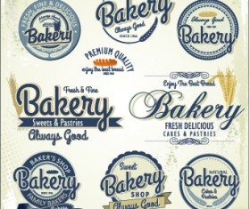 Vintage bakery labels creative vector set 05
