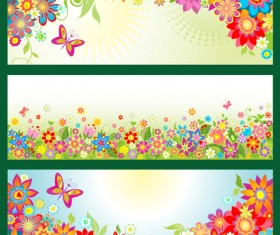 Beautiful floral and butterfly banner vector