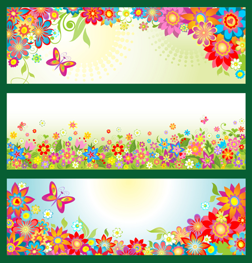 beautiful floral and butterfly banner vector free download. Black Bedroom Furniture Sets. Home Design Ideas