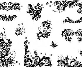 Black floral decor object vector 01
