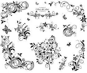 Black floral decor object vector 02