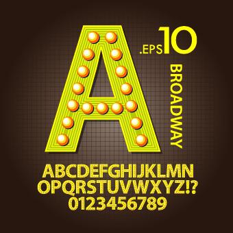 Broadway Style Alphabet Font Vector