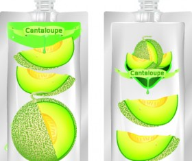 Cantaloupe Drinks with packing vector 03