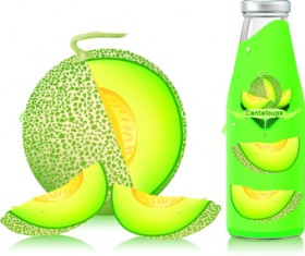 Cantaloupe Drinks with packing vector 04