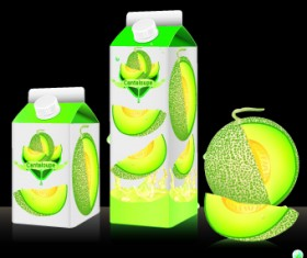 Cantaloupe Drinks with packing vector 05