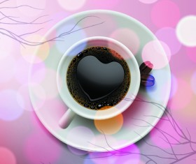 Valentine day coffee heart vector card 01