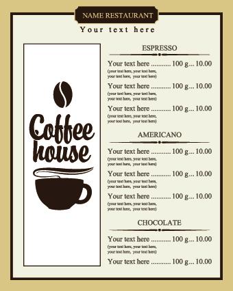 Coffee Price List menu vector free download