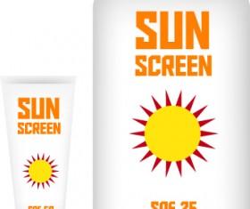 Cosmetics sunblock lotions design elements vector 02