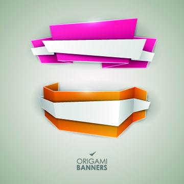 Creative origami banner design vector 01 - Vector Banner free download